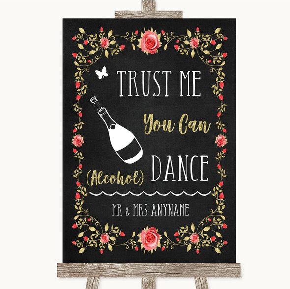 Chalk Style Blush Pink Rose & Gold Alcohol Says You Can Dance Wedding Sign