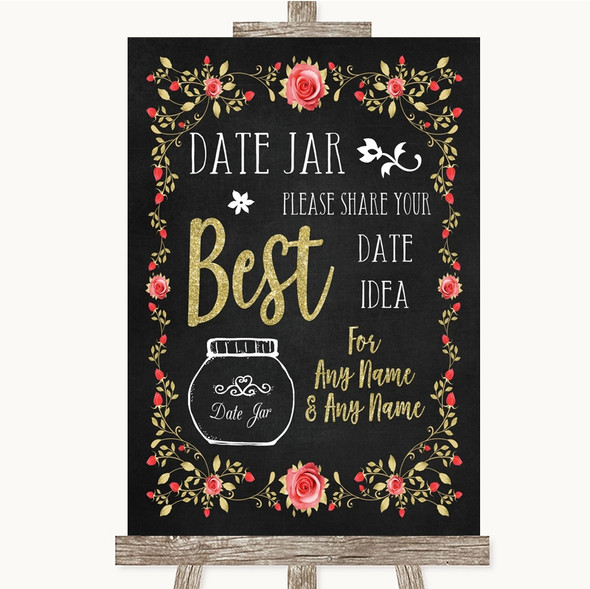 Chalk Style Blush Pink Rose & Gold Date Jar Guestbook Personalised Wedding Sign
