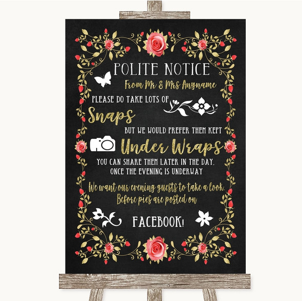 Chalk Style Blush Pink Rose & Gold Don't Post Photos Facebook Wedding Sign