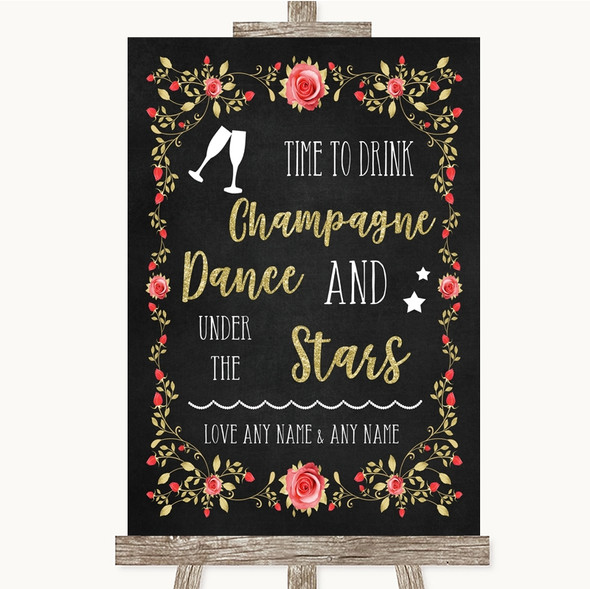 Chalk Style Blush Pink Rose & Gold Drink Champagne Dance Stars Wedding Sign