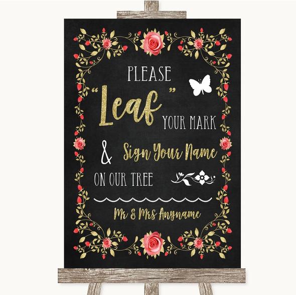 Chalk Style Blush Pink Rose & Gold Fingerprint Tree Instructions Wedding Sign