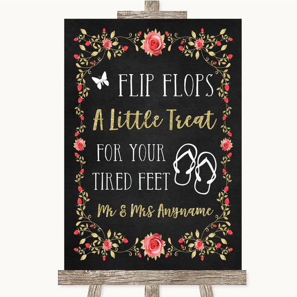 Chalk Style Blush Pink Rose & Gold Flip Flops Dancing Shoes Wedding Sign