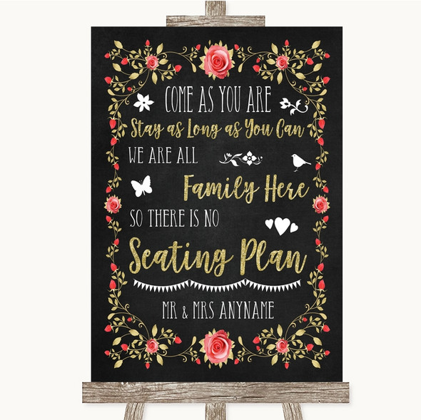 Chalk Style Blush Pink Rose & Gold All Family No Seating Plan Wedding Sign