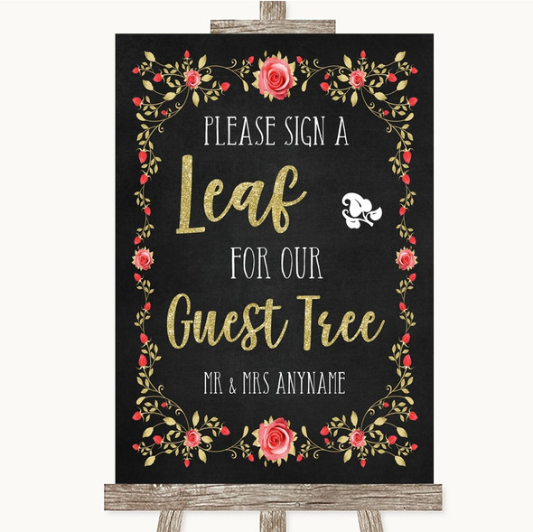 Chalk Style Blush Pink Rose & Gold Guest Tree Leaf Personalised Wedding Sign