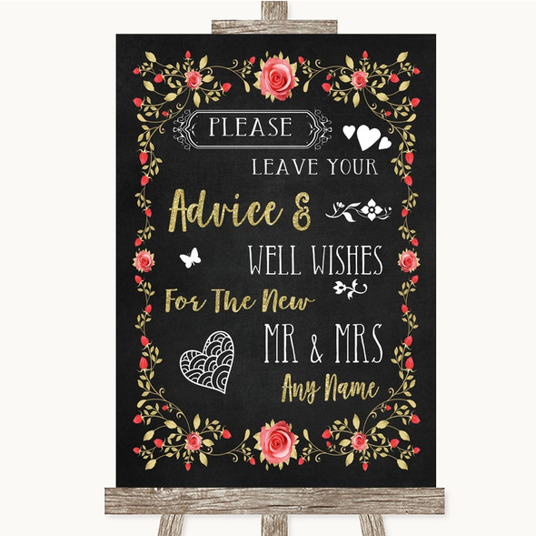 Chalk Blush Pink Rose & Gold Guestbook Advice & Wishes Mr & Mrs Wedding Sign