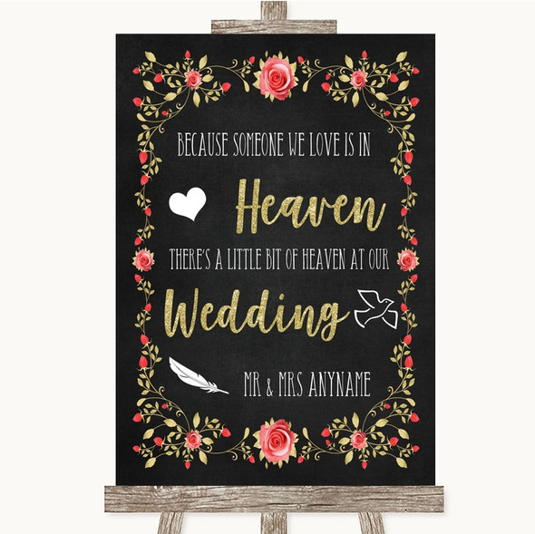 Chalk Style Blush Pink Rose & Gold Heaven Loved Ones Personalised Wedding Sign