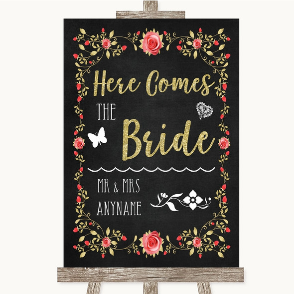Chalk Style Blush Pink Rose & Gold Here Comes Bride Aisle Wedding Sign