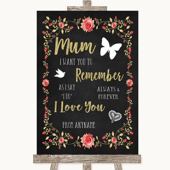 Chalk Style Blush Pink Rose & Gold I Love You Message For Mum Wedding Sign