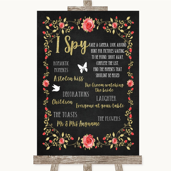 Chalk Style Blush Pink Rose & Gold I Spy Disposable Camera Wedding Sign