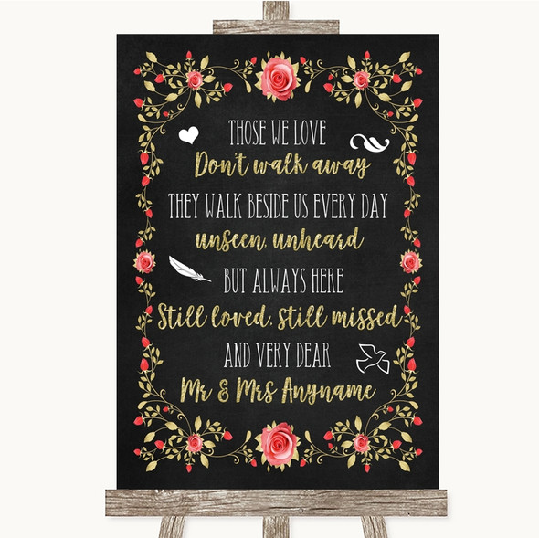 Chalk Style Blush Pink Rose & Gold In Loving Memory Personalised Wedding Sign
