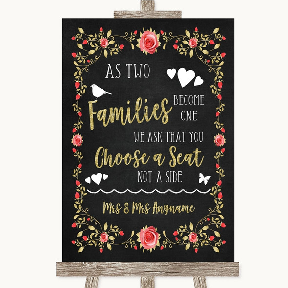 Chalk Blush Pink Rose & Gold As Families Become One Seating Plan Wedding Sign