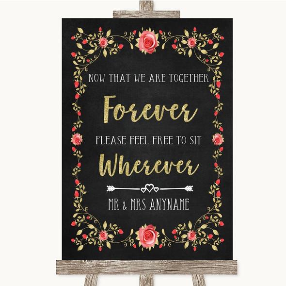 Chalk Style Blush Pink Rose & Gold Informal No Seating Plan Wedding Sign