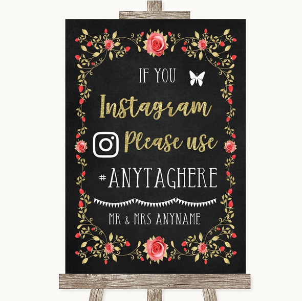 Chalk Style Blush Pink Rose & Gold Instagram Hashtag Personalised Wedding Sign