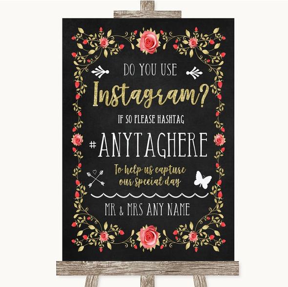 Chalk Style Blush Pink Rose & Gold Instagram Photo Sharing Wedding Sign