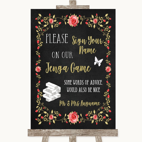 Chalk Style Blush Pink Rose & Gold Jenga Guest Book Personalised Wedding Sign
