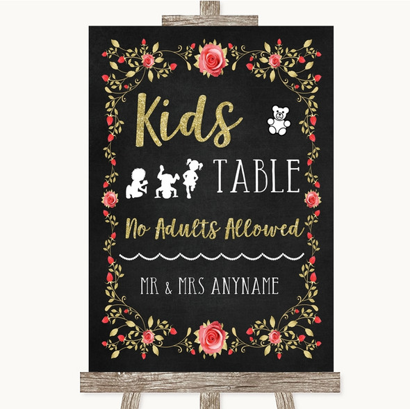 Chalk Style Blush Pink Rose & Gold Kids Table Personalised Wedding Sign