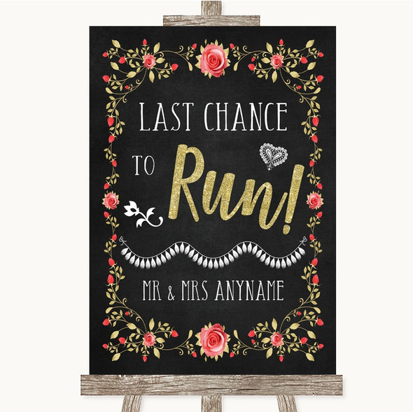 Chalk Style Blush Pink Rose & Gold Last Chance To Run Personalised Wedding Sign