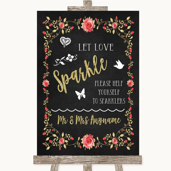 Chalk Blush Pink Rose & Gold Let Love Sparkle Sparkler Send Off Wedding Sign