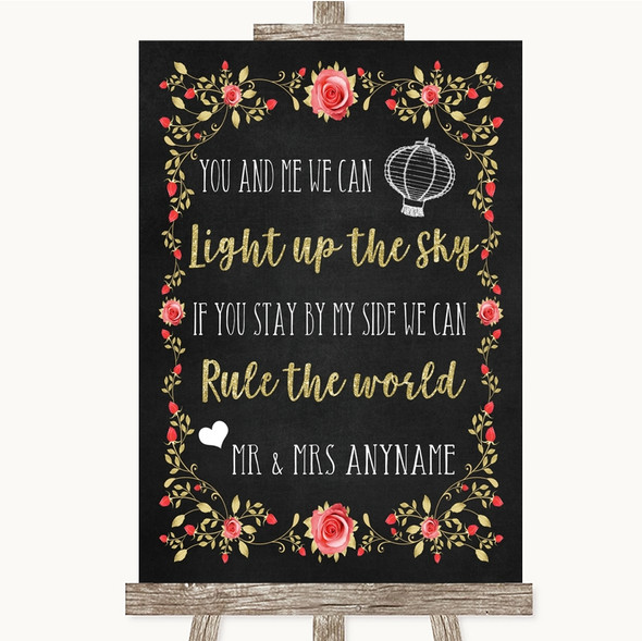 Chalk Style Blush Pink Rose & Gold Light Up The Sky Rule The World Wedding Sign