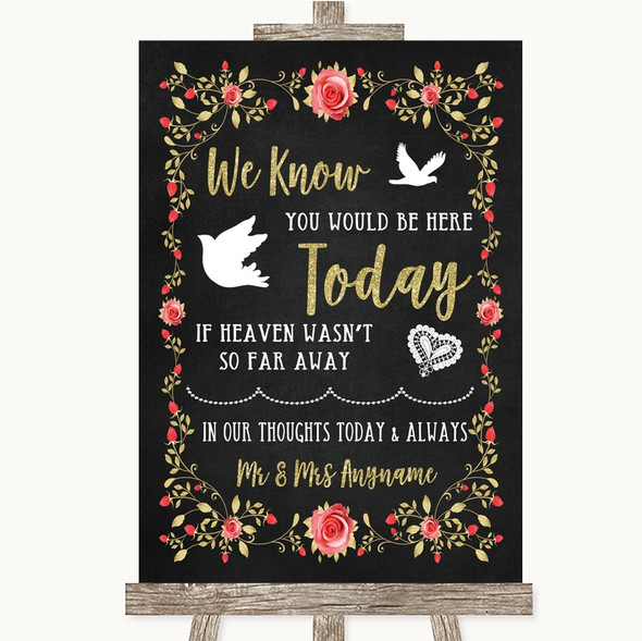 Chalk Style Blush Pink Rose & Gold Loved Ones In Heaven Wedding Sign