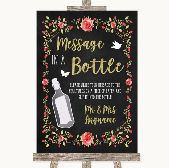 Chalk Style Blush Pink Rose & Gold Message In A Bottle Personalised Wedding Sign