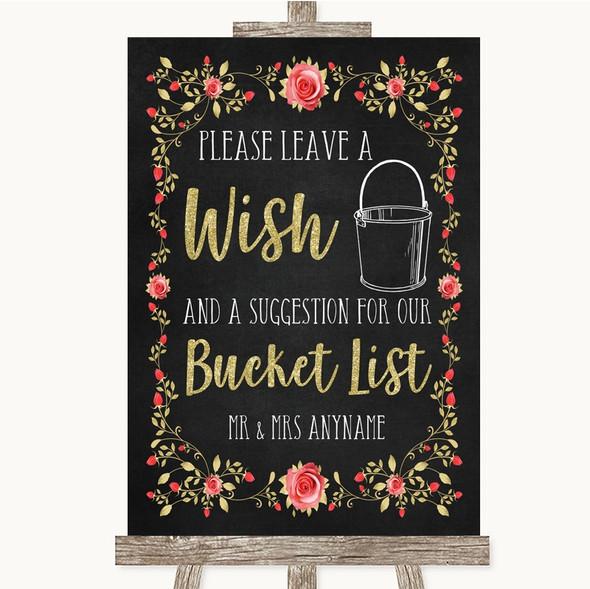 Chalk Style Blush Pink Rose & Gold Bucket List Personalised Wedding Sign