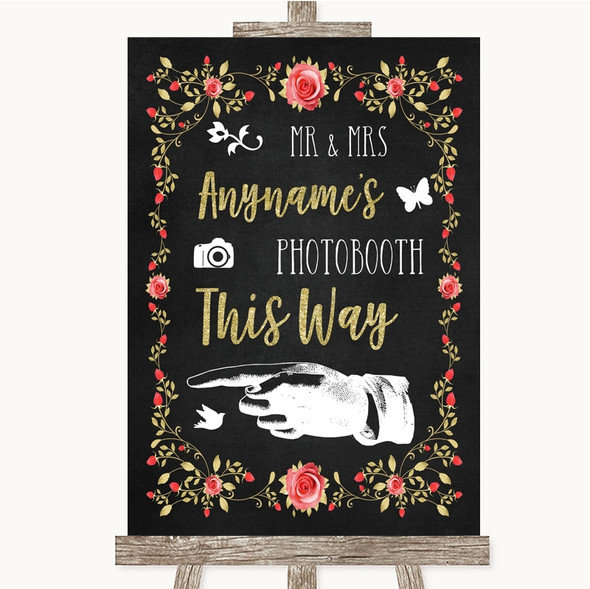 Chalk Style Blush Pink Rose & Gold Photobooth This Way Left Wedding Sign