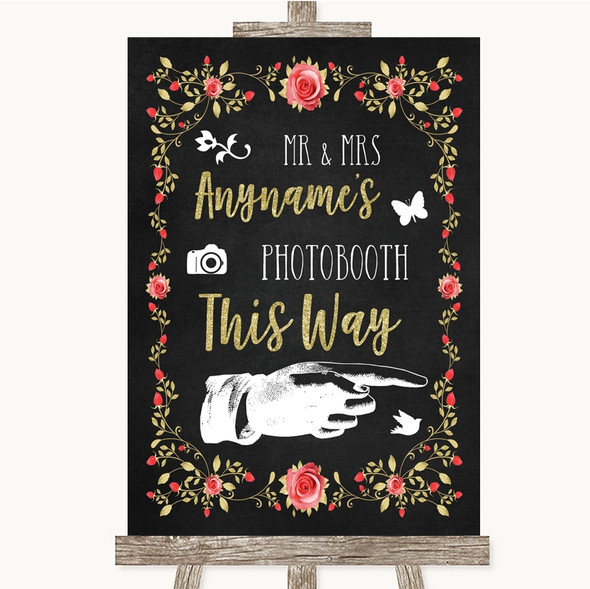 Chalk Style Blush Pink Rose & Gold Photobooth This Way Right Wedding Sign
