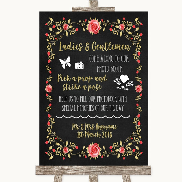 Chalk Style Blush Pink Rose & Gold Pick A Prop Photobooth Wedding Sign