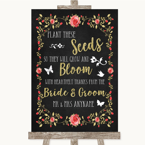 Chalk Style Blush Pink Rose & Gold Plant Seeds Favours Personalised Wedding Sign