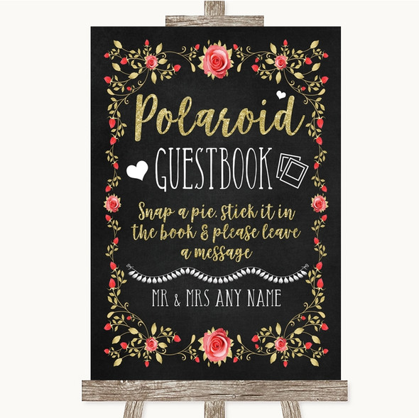 Chalk Style Blush Pink Rose & Gold Polaroid Guestbook Personalised Wedding Sign