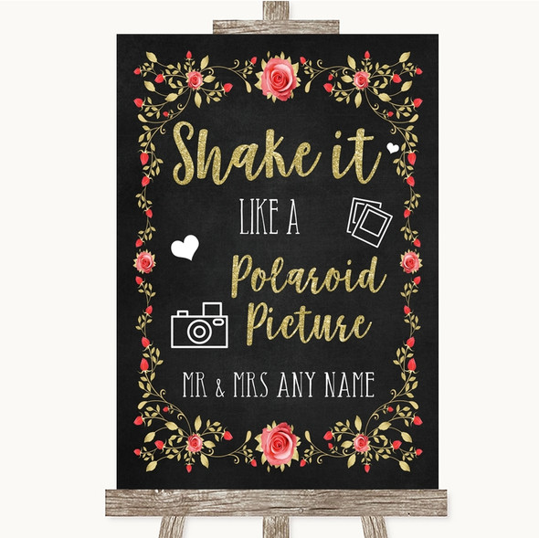 Chalk Style Blush Pink Rose & Gold Polaroid Picture Personalised Wedding Sign