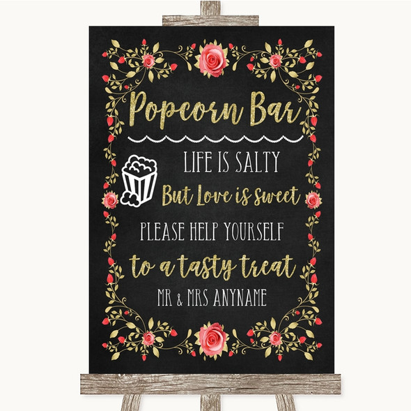 Chalk Style Blush Pink Rose & Gold Popcorn Bar Personalised Wedding Sign