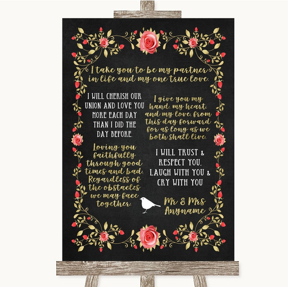 Chalk Style Blush Pink Rose & Gold Romantic Vows Personalised Wedding Sign