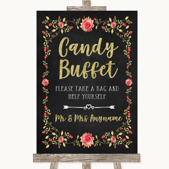Chalk Style Blush Pink Rose & Gold Candy Buffet Personalised Wedding Sign
