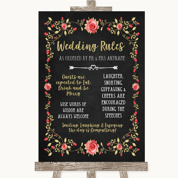 Chalk Style Blush Pink Rose & Gold Rules Of The Wedding Sign