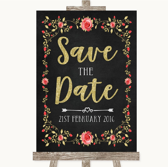 Chalk Style Blush Pink Rose & Gold Save The Date Personalised Wedding Sign