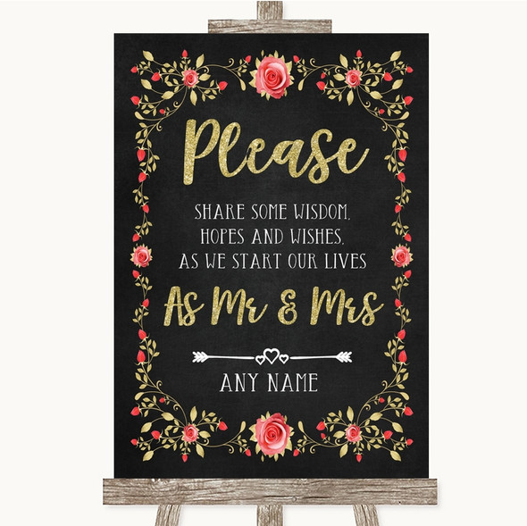 Chalk Style Blush Pink Rose & Gold Share Your Wishes Personalised Wedding Sign