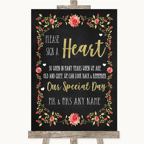 Chalk Style Blush Pink Rose & Gold Sign a Heart Personalised Wedding Sign