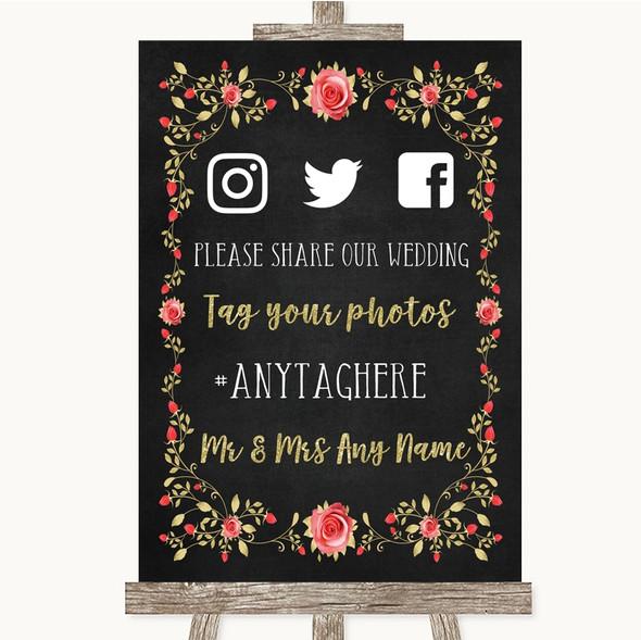 Chalk Style Blush Pink Rose & Gold Social Media Hashtag Photos Wedding Sign