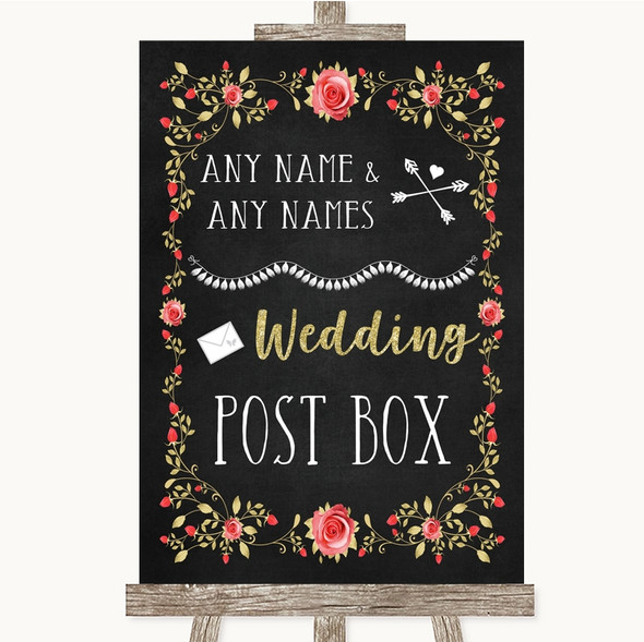 Chalk Style Blush Pink Rose & Gold Card Post Box Personalised Wedding Sign