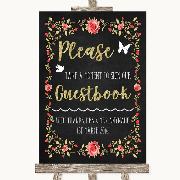 Chalk Blush Pink Rose & Gold Take A Moment To Sign Our Guest Book Wedding Sign