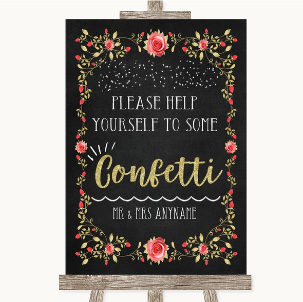 Chalk Style Blush Pink Rose & Gold Take Some Confetti Personalised Wedding Sign