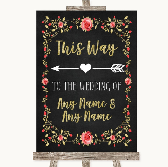 Chalk Style Blush Pink Rose & Gold This Way Arrow Left Personalised Wedding Sign