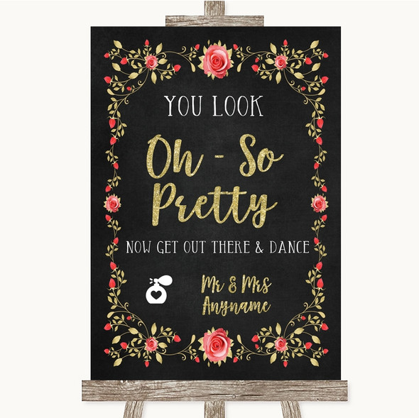 Chalk Style Blush Pink Rose & Gold Toilet Get Out & Dance Wedding Sign