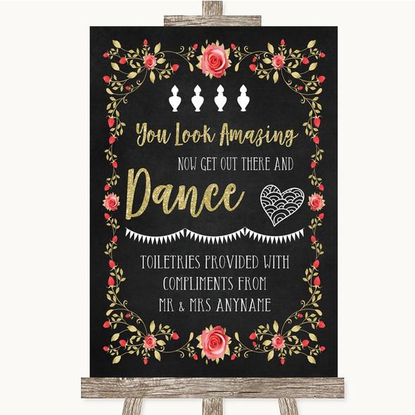 Chalk Style Blush Pink Rose & Gold Toiletries Comfort Basket Wedding Sign