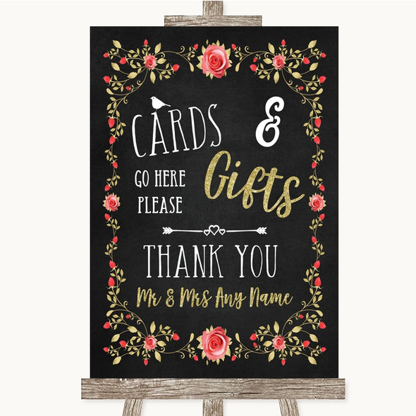 Chalk Style Blush Pink Rose & Gold Cards & Gifts Table Personalised Wedding Sign