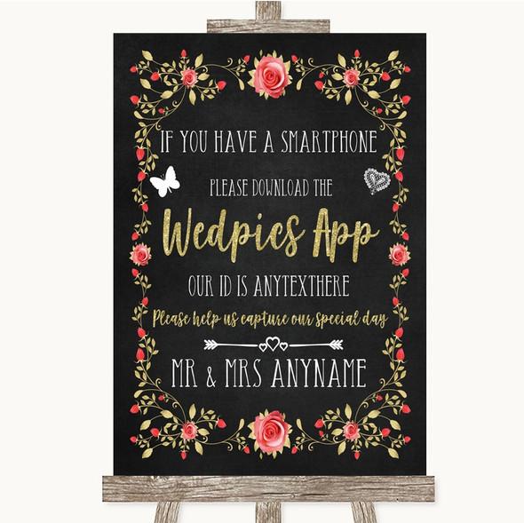 Chalk Style Blush Pink Rose & Gold Wedpics App Photos Personalised Wedding Sign