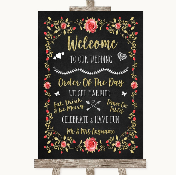 Chalk Style Blush Pink Rose & Gold Welcome Order Of The Day Wedding Sign