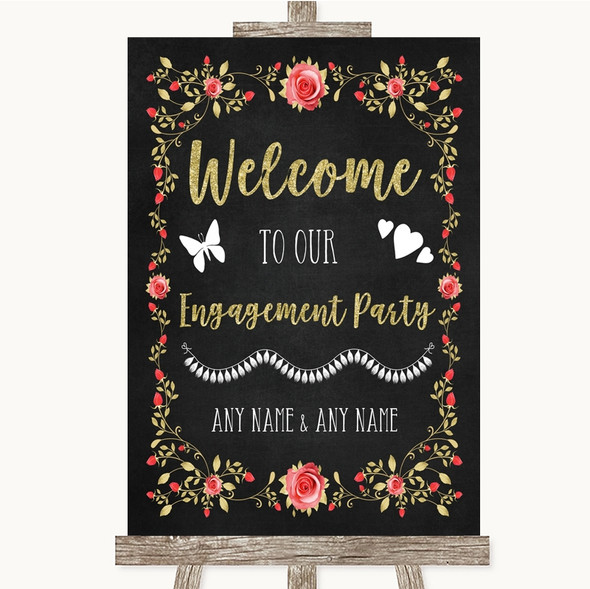 Chalk Style Blush Pink Rose & Gold Welcome To Our Engagement Party Wedding Sign